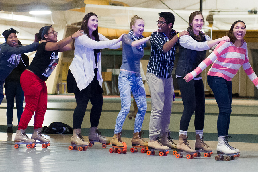 Late night roller skating hosted by Union Board in the T. Fleming Field House.