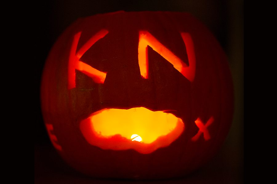 A Halloween pumpkin with K-N-O-X carved into it