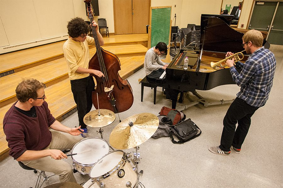 The Knox College Cherry Street Combo rehearses in Jay Hall.