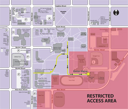 Campus map and parking for Obama visit