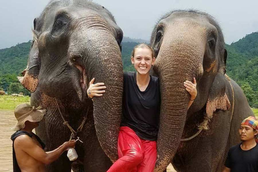 Keara Crook studied elephants in Thailand