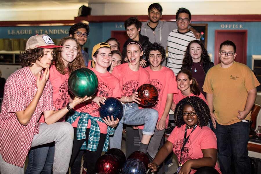Students participating in Living-Learning Communities spend an afternoon bowling together.