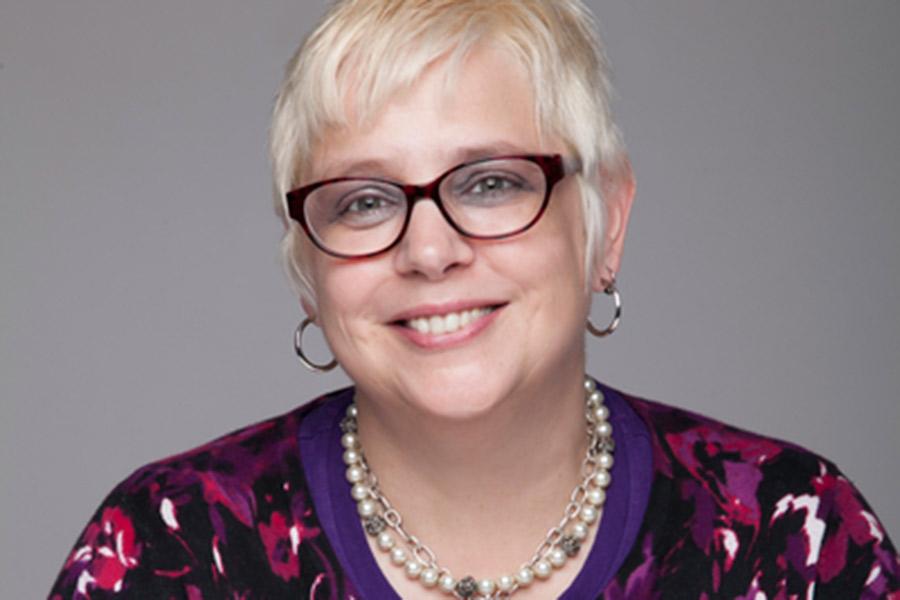 Director of Spiritual Life, Monica Corsaro, in the Gizmo.
