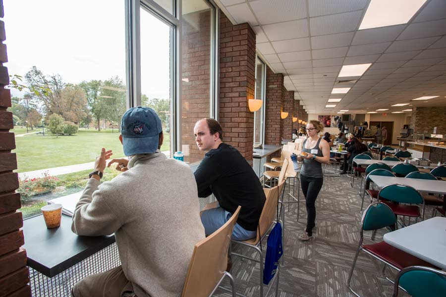 The renovated Hard Knox Cafe is more open, modern, and offers  seating along windows facing the scenic campus.