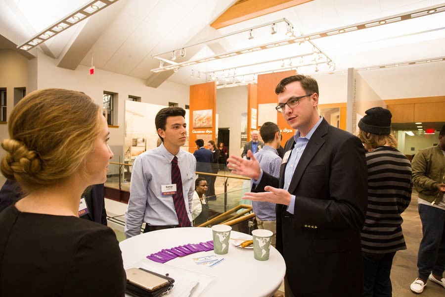 Knox College students network with alumni during Homecoming.