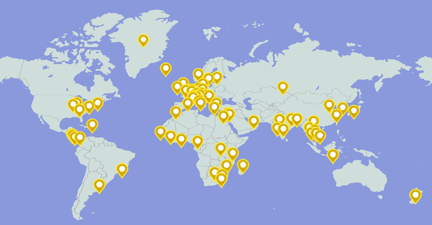 Map of locations of study abroad and off-campus programs