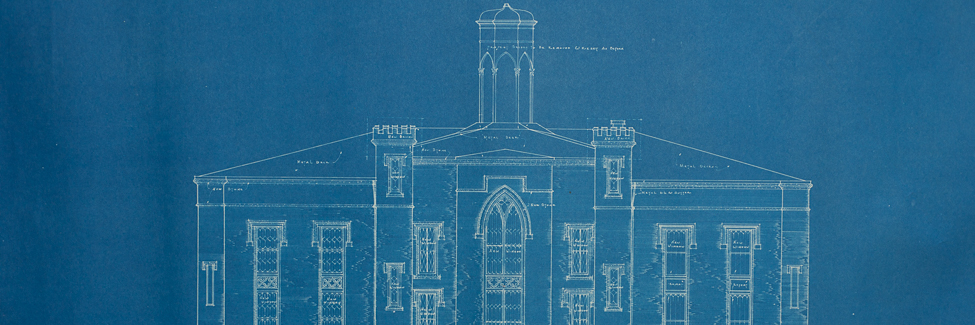 Blueprint created in 1930 for the renovation of Old Main.