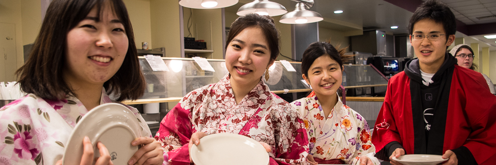 Students come to the cafeteria in traditional Japanese clothing.