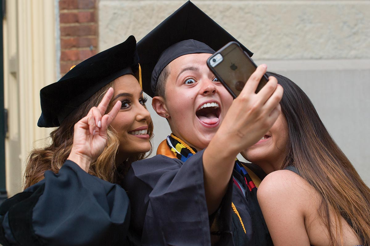 Senior Class Officer Donna Boguslavsky takes a selfie with Honorary Degree recipient and Commencement speaker Eva Longoria.