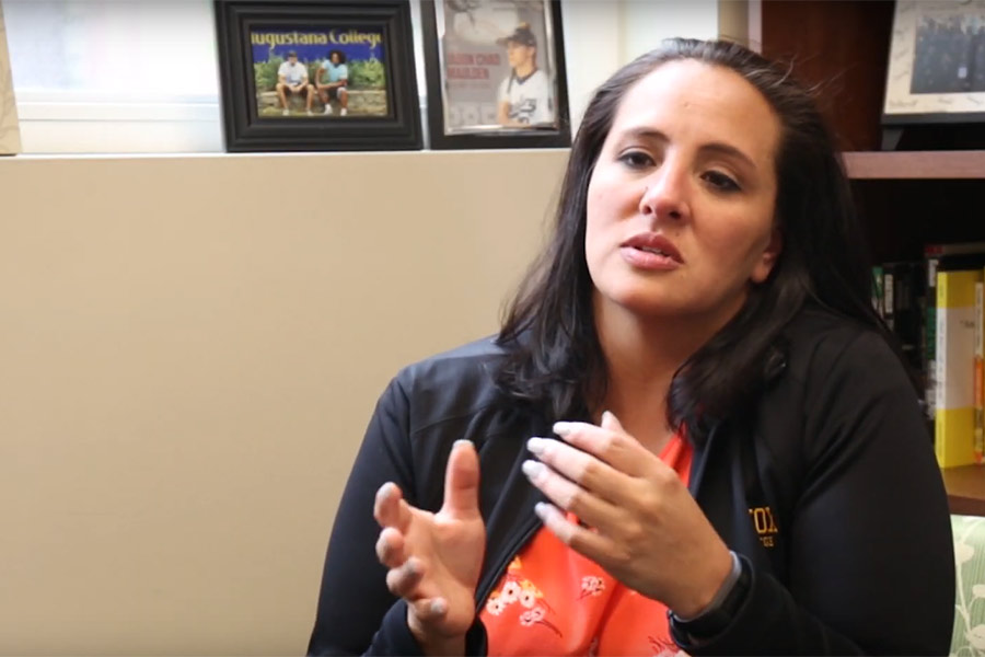 Tianna Cervantez '06 in her office at Knox College
