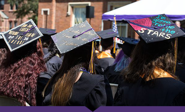 Decorated mortar boards during Commencement 2016