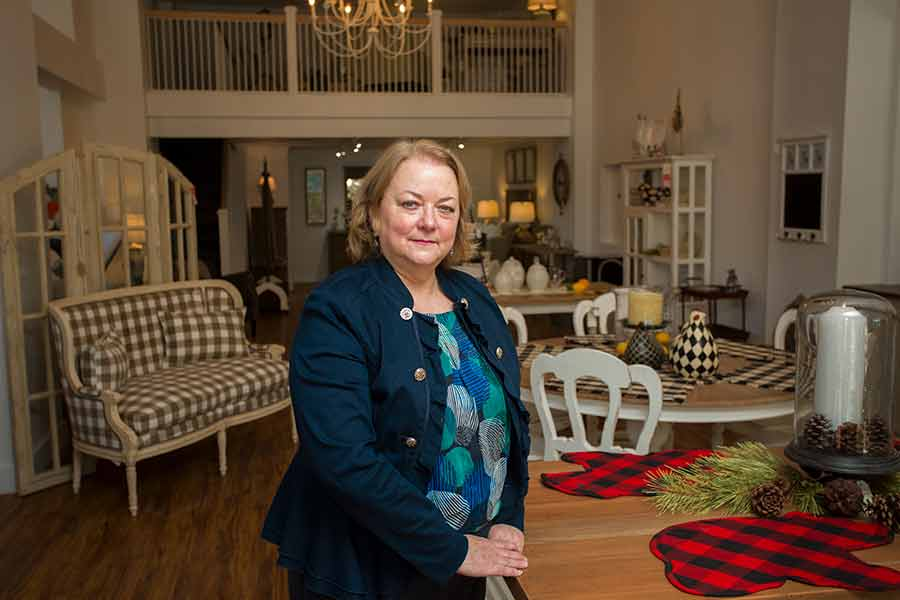 Teresa Phillipson '96, owner of Willow Haven Home Furnishings and Decor.