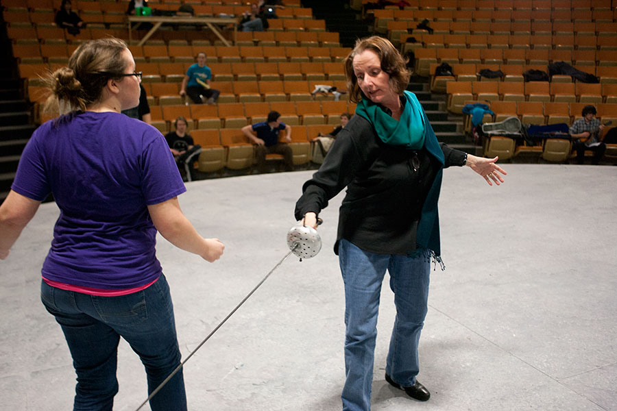 Elizabeth Carlin-Metz, Smith V. Brand Endowed Chair in Theatre Arts, at a rehearsal