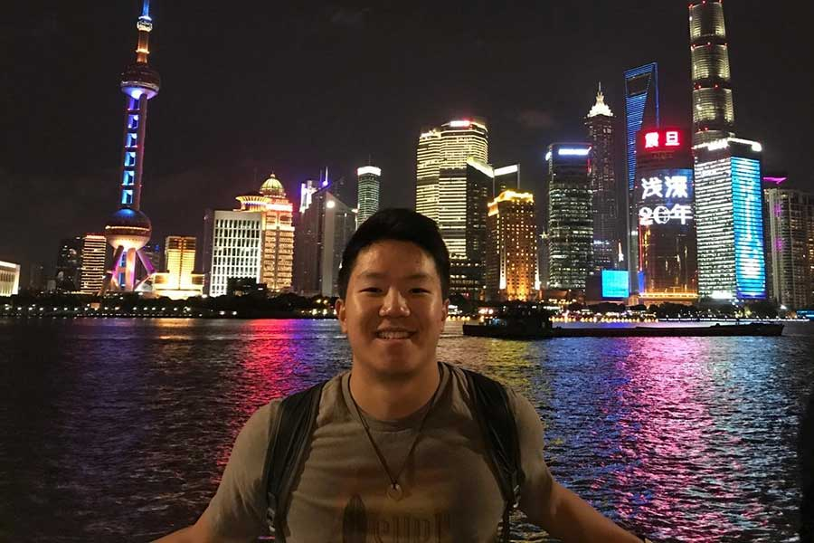 Student Kyle Yang studying abroad in Shanghai.