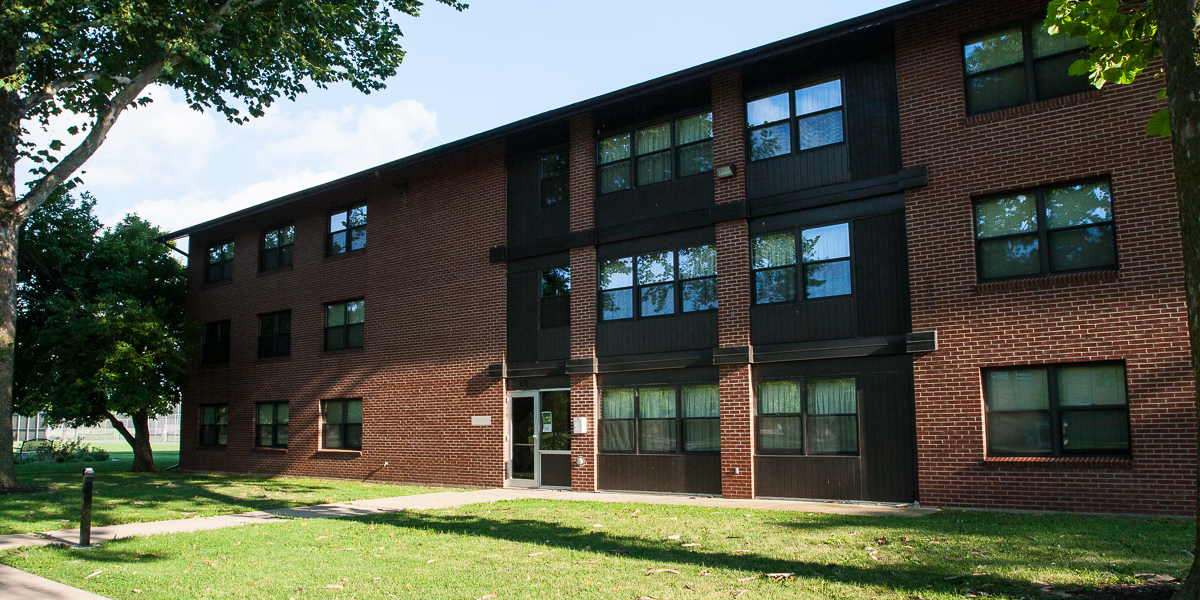 Drew residence hall in the spring.