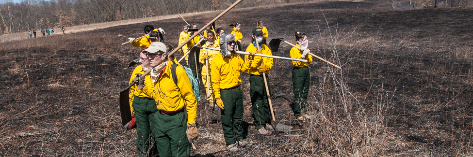Professor Stuart Allison and students scan the burned prairie at Green Oaks.