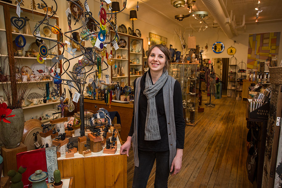 Hilary Anderson '00 in her store on Seminary Street.