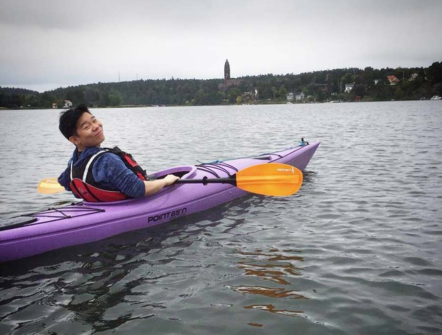 Joseph on a kayak in Saltsjobaden, Stockholm, Sweden.