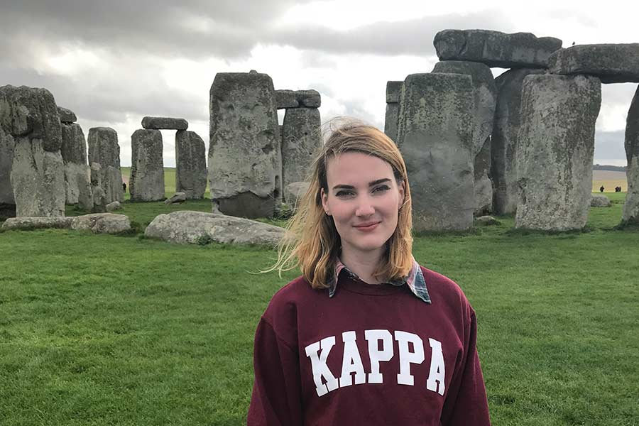 Caroline at Stonehenge during her study abroad program in London.