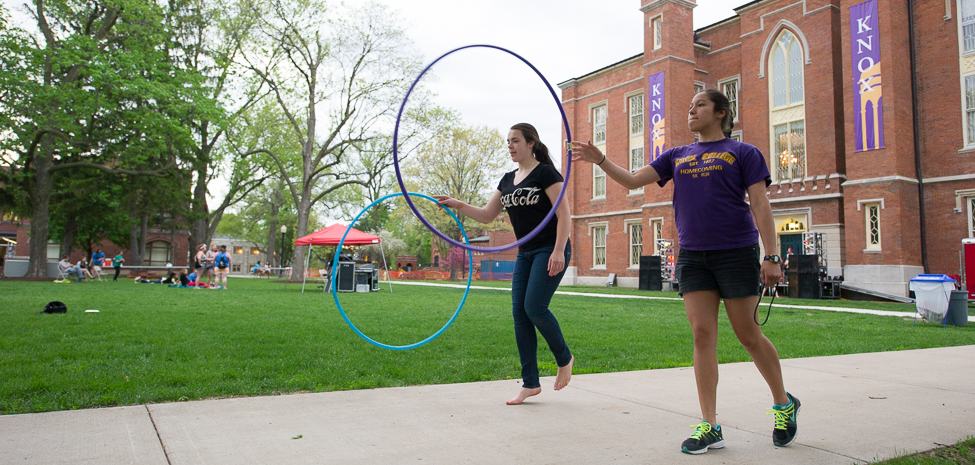 Students enjoy the Lincoln Fest activities on the South Lawn of Old Main.