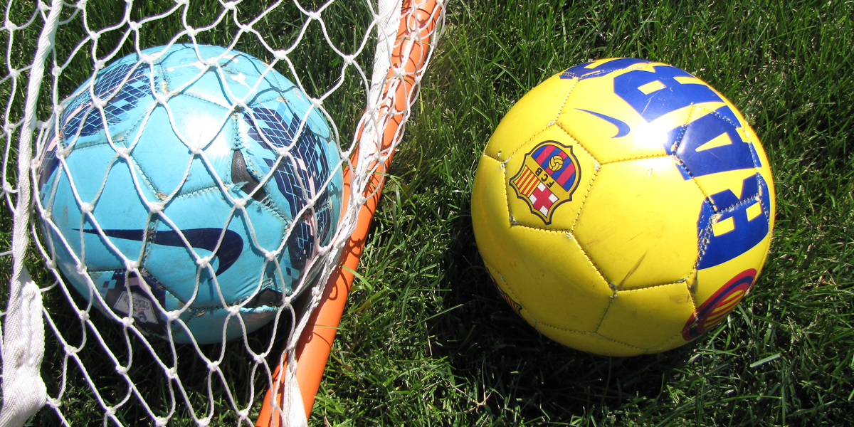 Soccer balls sit outside the goal during the annual Harambee Soccer Tournament.