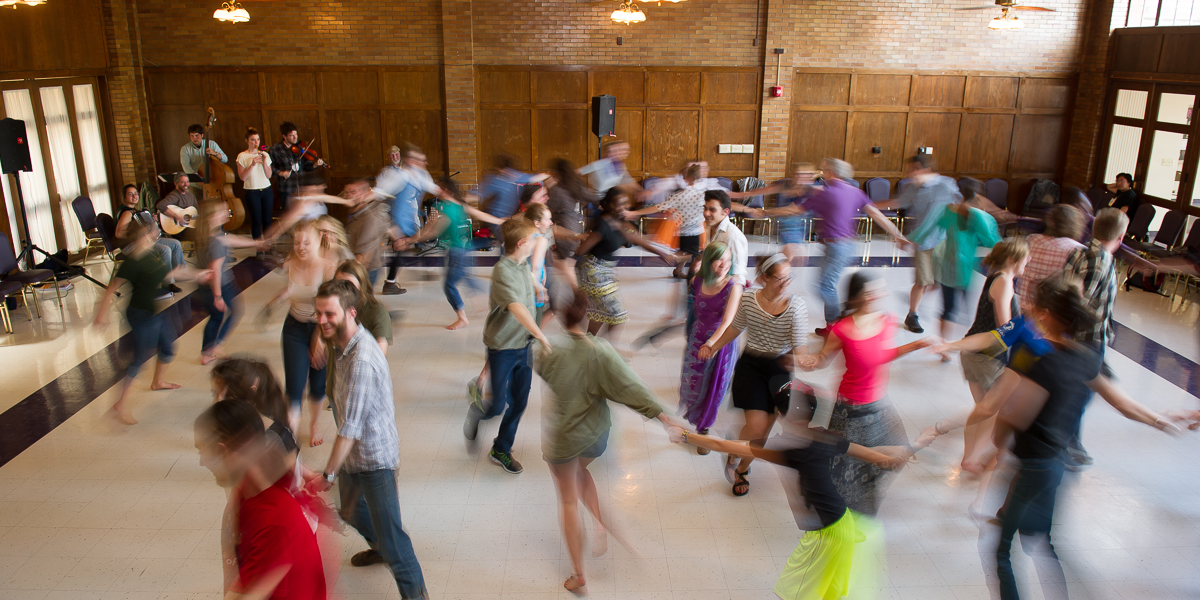 "A student ""barn dance"" in the Oak Room."