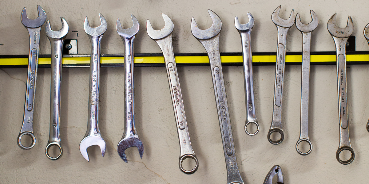 Tools used by student mechanics in the campus bike shop.
