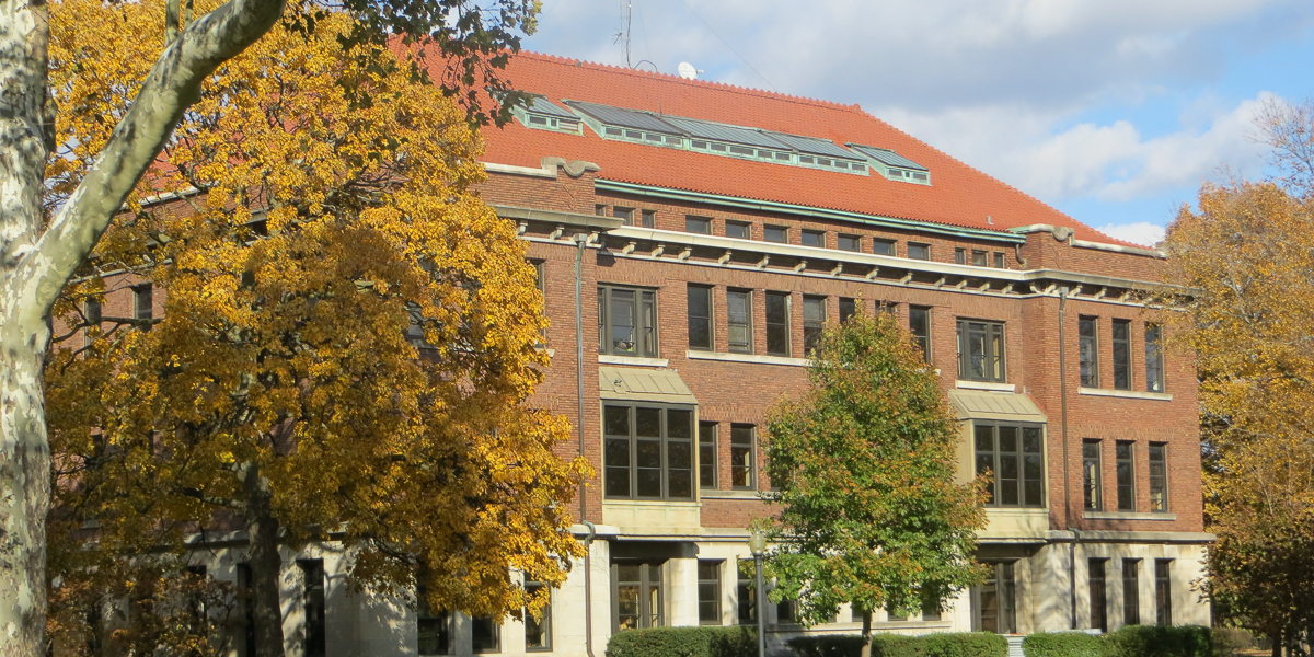 George Davis Hall in the fall.