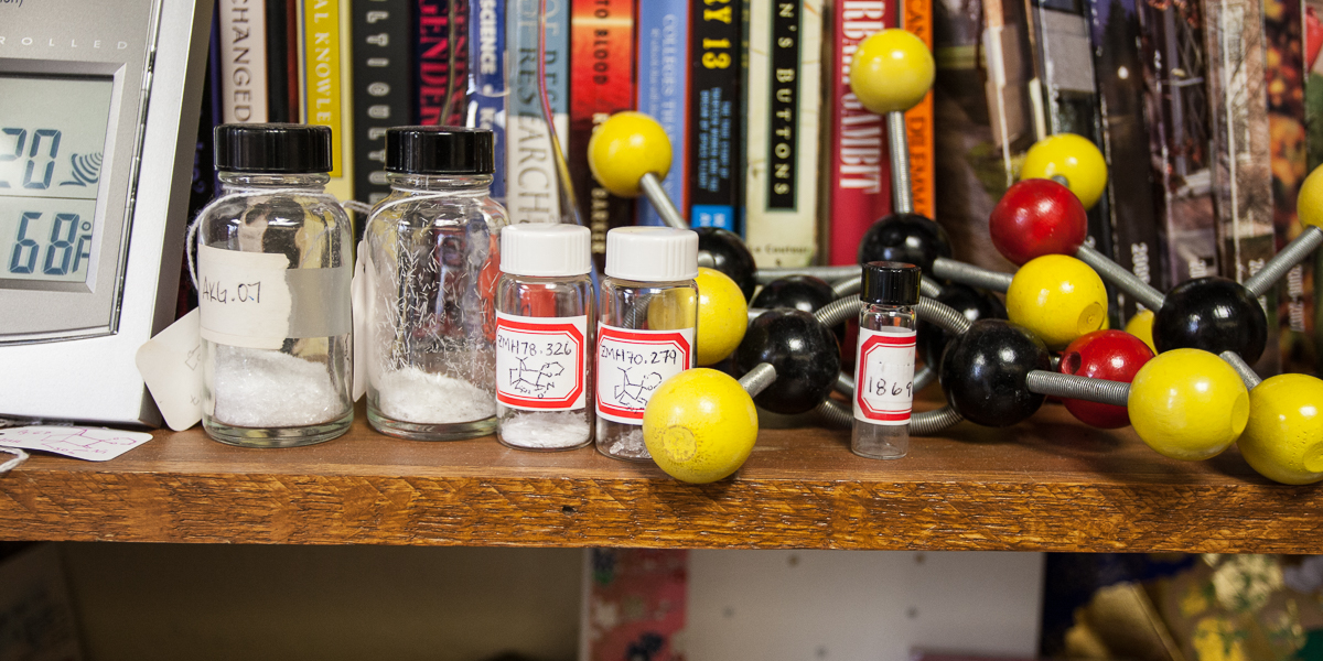 A wooden model of a molecule sits on a shelf in Professor Diana Cermak's office.