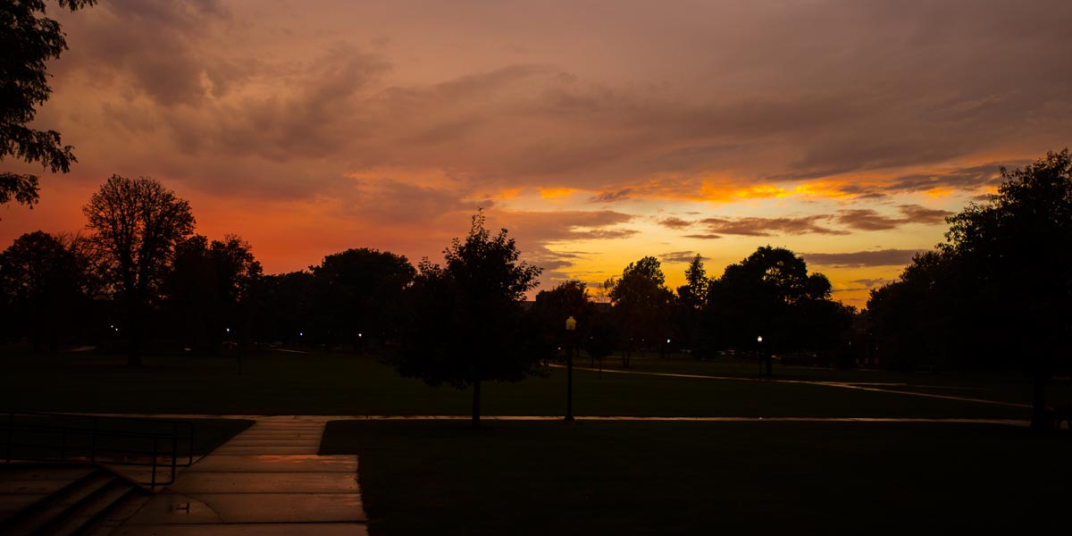 A fall sunset from the west side of Ford Center for the Fine Arts
