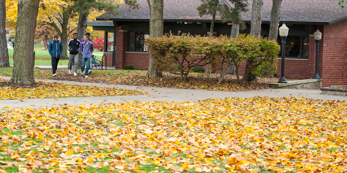 Students walk by the Gizmo in the fall.