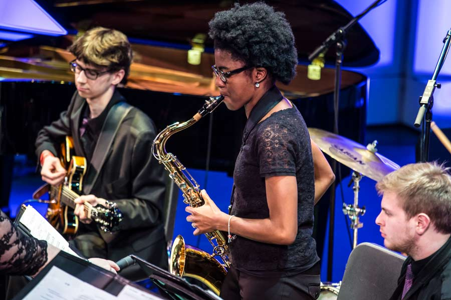 Students perform during Rootabaga Jazz Festival in spring.