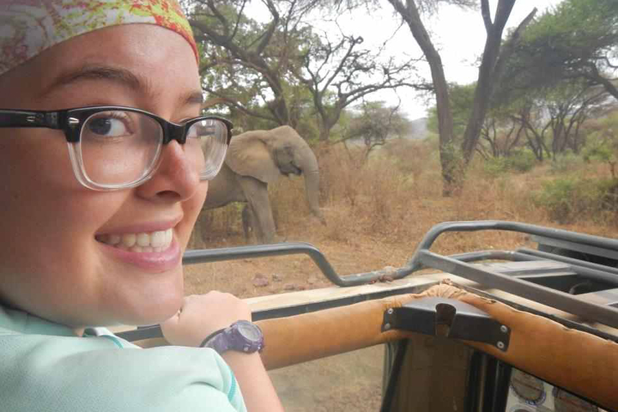 Hannah Black '14 studied abroad in Tanzania researching elephant behavior.