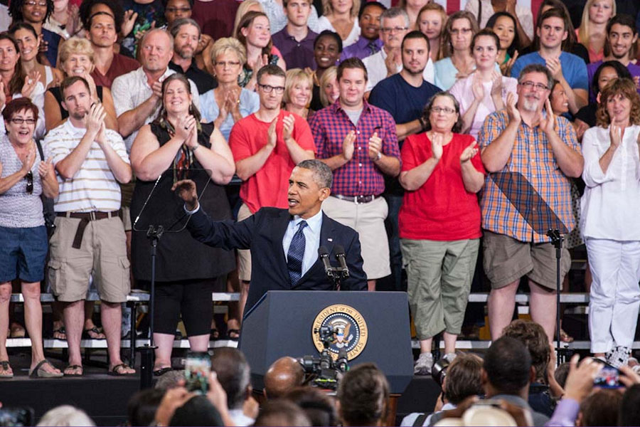 President Barack Obama makes his third-ever visit to the Knox College campus.