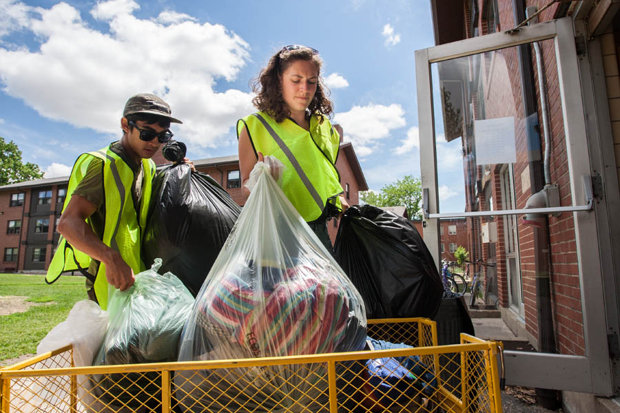 Knox College students collect items from residence halls for recycling