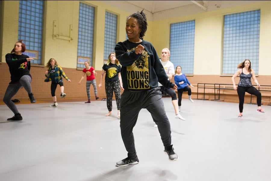 Ashley Tate, director of Ashleyliane Dance Company teaches a hip-hop master class to students during her week-long residency at Knox.