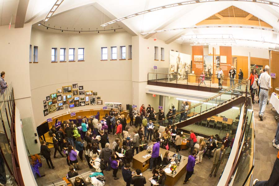 Visitors to Alumni Hall for an Admitted Students Day at Knox College