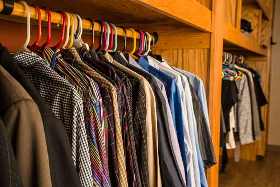Shirts hanging in the Career Closet