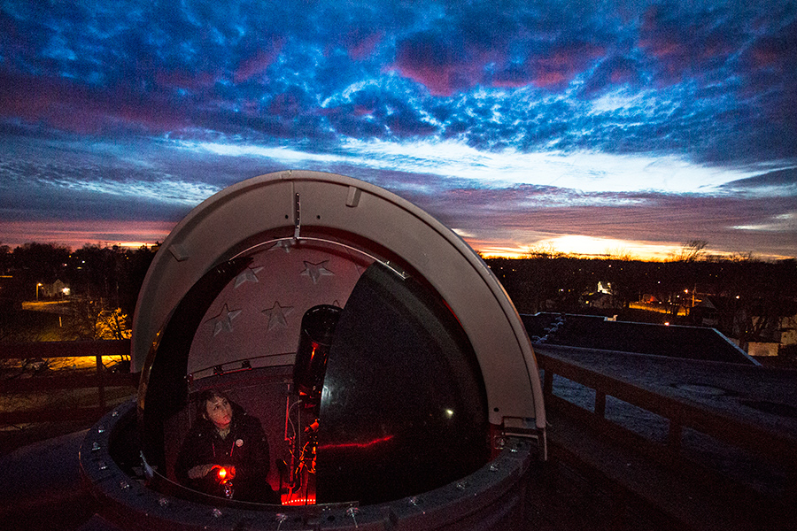 Physics professor Nathalie Haurberg with new astronomy equipment
