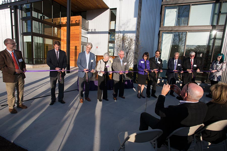 The ribbon is cut to open the new Whitcomb Art Center at Knox College.
