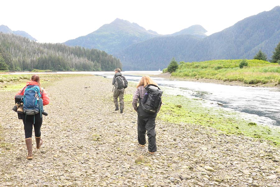 Students explore in Alaska.
