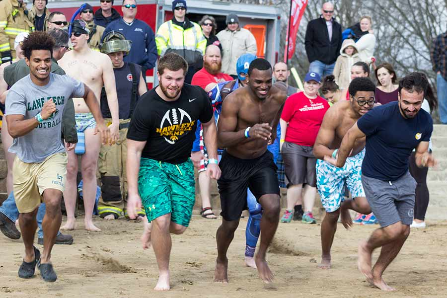 Participants in Polar Plunge, students and citizens of the Galesburg community alike, gather to plunge for Special Olympics.