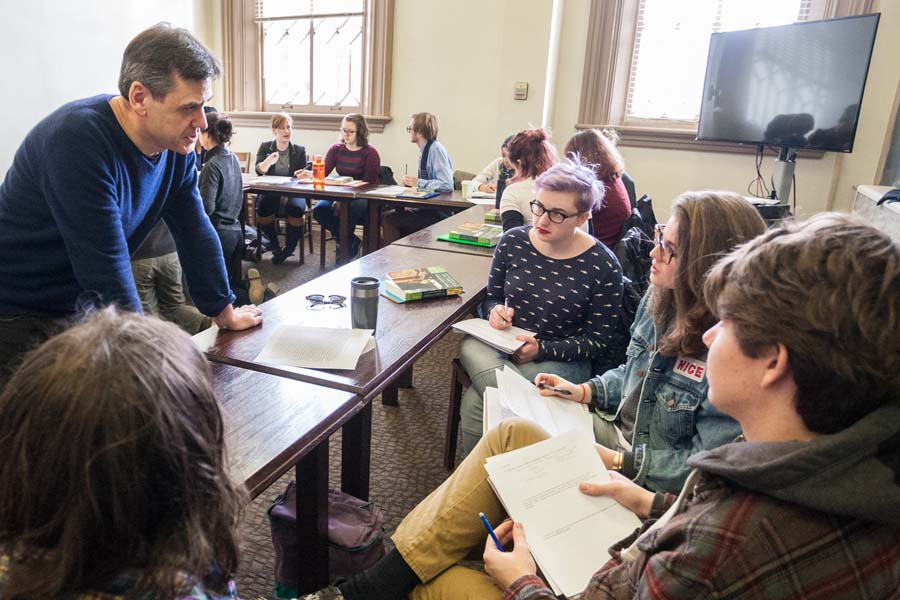 Knox College English professor Rob Smith with students in a literature class.
