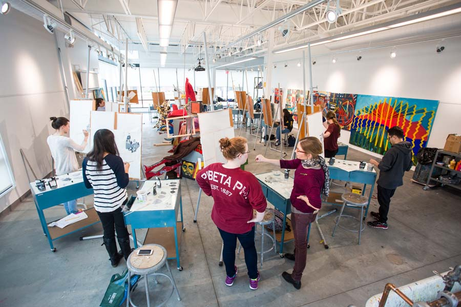 Painting class in the Whitcomb Art Center.