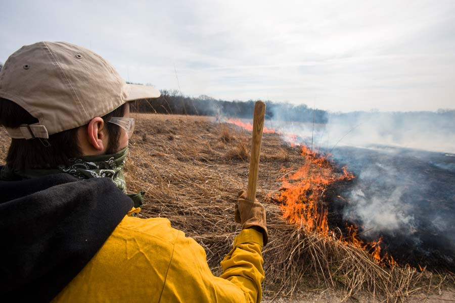 Knox College student monitors the extent of the annual Prairie Burn at the Green Oaks Biological Field Station.