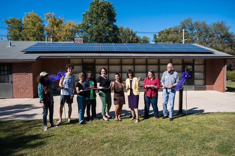 "Ceremonial ""unplugging"" to celebrate first solar power installation at Knox College."