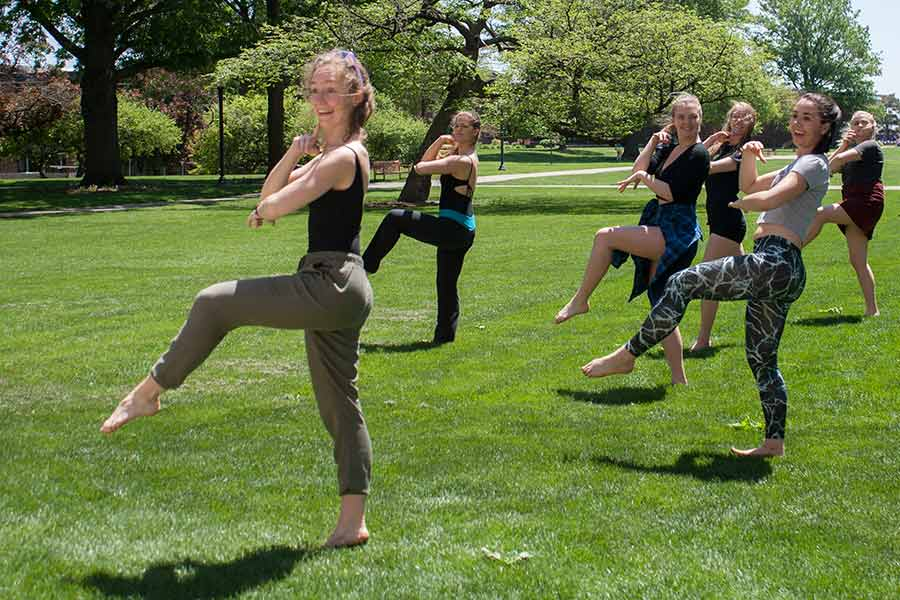 Knox College students participate in Dance Fest on the campus.