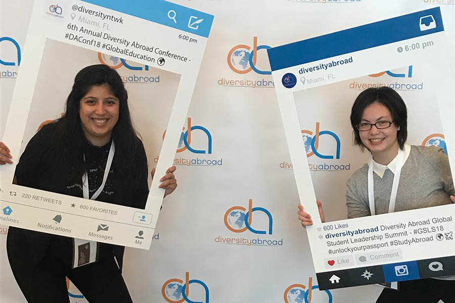 Eunice Shek '18 and Diana Rodriguez '20 smile during the Diversity Abroad Student Leadership Summit.