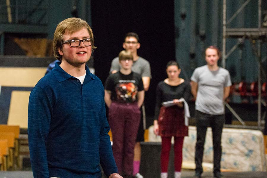 "Knox College students rehearsing Brecht's ""The Learning Plays."""