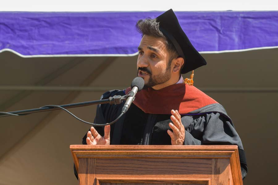Actor and comedian Vir Das '02 gives the Commencement address at the 173rd Commencement Ceremony.